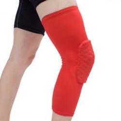 Piros-L - Antislip kosárlabda láb térdvédő Crashproof hosszú ujjú hajtómű Méhsejt pad