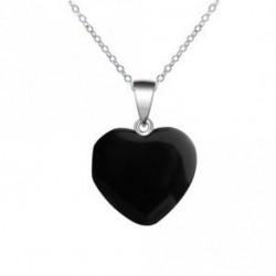 fekete - Szív drágakő szikla természetes kvarc kristály gyógyító csakra kő medál nyaklánc