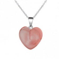 rózsaszín - Szív drágakő szikla természetes kvarc kristály gyógyító csakra kő medál nyaklánc