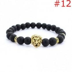 12 - Stretchable arany ezüst charm Buddha gyöngyös karkötő Natural Lava Stone karkötő