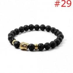 29 - Stretchable arany ezüst charm Buddha gyöngyös karkötő Natural Lava Stone karkötő