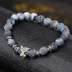 Kék - Divat Mens Fekete Lava Stone Arany és ezüst Oroszlán Beaded Cuff Charm Bangle karkötő