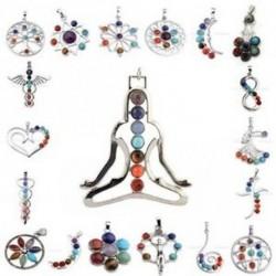 7 gyöngy Gyógyító pont Reiki medál lánc Chakra természetes kristály nyaklánc