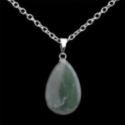 Quartz Crystal Gem Természetes kő Chakra Point Gyógyító Waterdrop medál nyaklánc