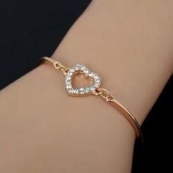 Divat aranyos arany kristály strassz Szerelem szív bájjal lánc karperec ékszer