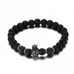 8,5 mm-es Crown Lion Head Alloy Bangle fekete Lava gyöngyös férfi karkötő ékszer