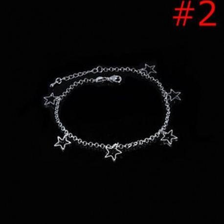 dced77a33f 2 - Strand ékszerek Bokalánc karkötő Ezüstözött szív gyöngyök Star láb lánc