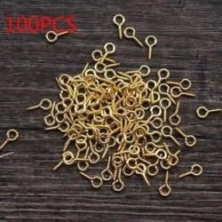 Arany - 100Pcs DIY szemes csapok Hole Hooks menetes medál csavar Ékszer tartozékok