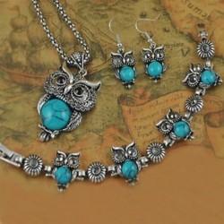Antik tibeti kristály bagoly türkiz nyaklánc karkötő fülbevaló Ékszer szett