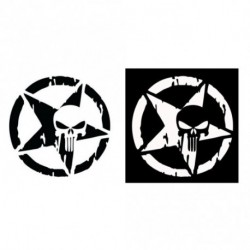 13 X 13 CM csillag koponya Fényvisszaverő Pentagram matrica