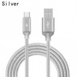 EZÜST - USB C típusú C izzó LED villogó fémötvözet adatkábel Gyors töltőzsinór