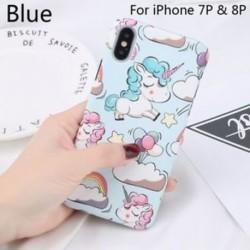Kék-az iPhone 7p és 8p - Cellphone Shell Mobil védő Unicorn iPhone 6 / 6S iPhone 7/8 iPhone X-hez