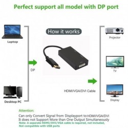 3in1 DP Display Port Male 20pin - DVI / HDMI / VGA Nő 1080P HDTV kábel átalakító adapter
