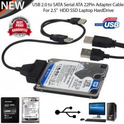 """Dual USB 2.0 - 2.5inch 7 + 15 tűs SATA adat- és tápkábel adapter 2,5 """" merevlemezhez HDD SSD"""