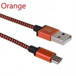 narancs - Nylon szövött fém fonott USB kábel töltő alumínium