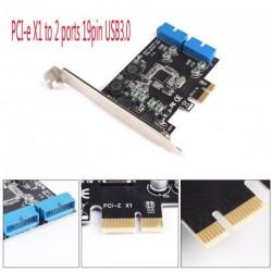 PCI Express Dual 20 Pin USB 3.0 PCI-e X1 2 port 19 érintkezős USB3.0 alacsony profilú konzol