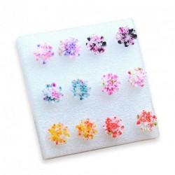 6 pár Színes százszorszép  virág mintás tavaszi nyári fülbevaló női lány divatos ékszer