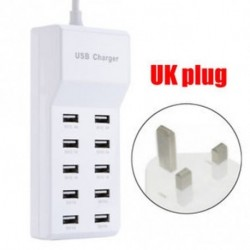 UK dugó - 10 USB port gyors töltő adapter fal töltő HUB az IPhone Samsung Tablet