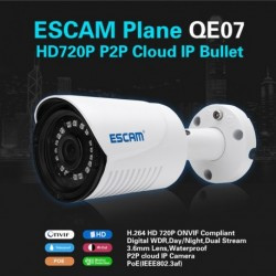 ESCAM Plane QE07 H.264 HD 720P P2P Cloud IP csőkamera 24db LED Dual Stream Biztonsági