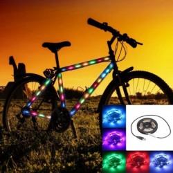 1db 1M Rugalmas LED szalag Fény USB fényes RGB MultiColor dekoráció háttérvilágítás kerékpár fény