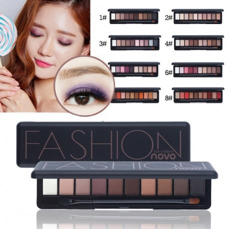 1x NOVO 10 színű szemhéjárnyaló púder természetes matt szemhéjárnyaló kozmetikai ecsettel