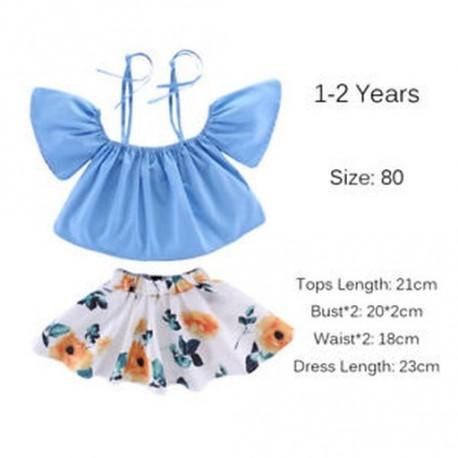 6f0e93f369 1-2 év - Tipegő Gyerekek Bébi lányok váll floral tops szoknya ruha nyári  ruhák készletek