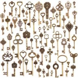 70db antik vintage bronz csontváz kulcs medál készlet DIY nyaklánc medál ékszerek készítés