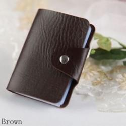 Barna - 24Card Slots kétoldalas műanyag kártya tartó kis méretű üzleti hitelkártya táska