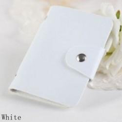 fehér - 24Card Slots kétoldalas műanyag kártya tartó kis méretű üzleti hitelkártya táska