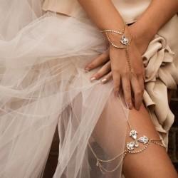 1db luxus kristály strassz Gem virág vízcsepp medál karkötő Boho esküvői Party ékszer