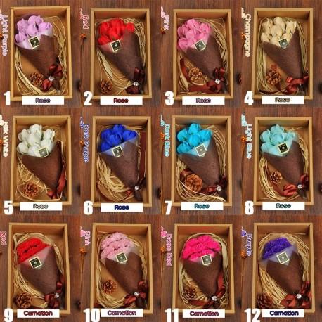 7db fürdő szappan szegfű Rózsa csokor virág a esküvői születésnap Valentin-napi ajándék 1db