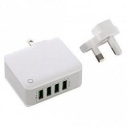 4.4A 4 in 1 port USB hordozható otthoni utazási fali töltő US Plug AC tápegység