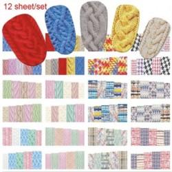 12db - Körömdíszítő matrica - unisex - Többféle kötött pulcsis mintával