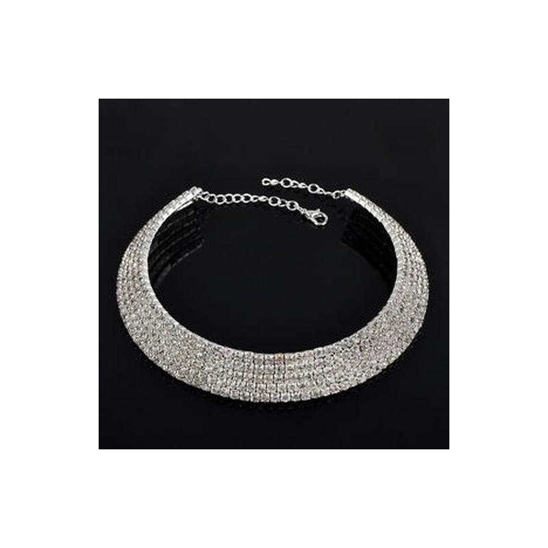 423cd0a02e 5 soros kristály - Női divat strassz Crystal Choker nyakörv nyaklánc party  esküvő ékszer