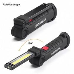 1x Hordozható 5 módú COB zseblámpa USB újratölthető LED fény COB