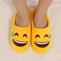 1 pár női emoji mintás meleg papucs