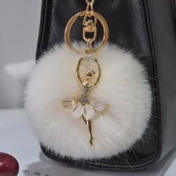 1db nyuszi farok puha bolyt kulcstartó táska pénztárca dísz