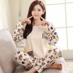 1 szett női cuki mintás alvó ruha pizsama hálóruha