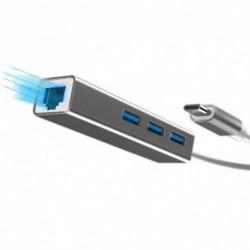 1x C Típusú Ethernet-adapter C típusú USB 2.0 HUB 3 porttal RJ45 hálózati kártya Lan adapter Macbook