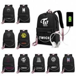 1x KPOP BTS EXO WANNAONE GOT7 TWICE BLACKPINK hátizsák USB töltő iskola táska
