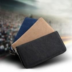 1x műBőr férfi pénztárca táska szervező Vintage vászon hosszú