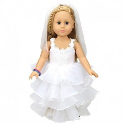 """1x Baba Ruha Esküvői ruha baba hercegnő ruha 18"""" mérteű babához"""