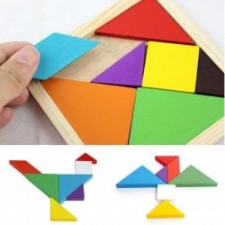 1x Fa szivárvány színű Tangram DIY fa puzzle gyerek oktatás játék