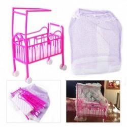 1xBarbie baba óvoda bölcső ágy miniatűr babaház játék hálószoba bútor