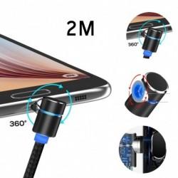 Mágneses töltőkábel 90 fokos  Micro USB iphone USB-kábel LED-es cserélhető adapterek (2M)