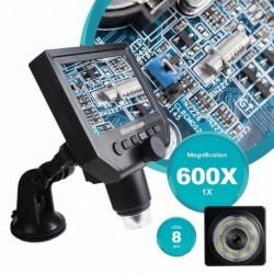 1-600x 3.6MP USB digitális elektronikus mikroszkóp  8 LED VGA mikroszkóp 4,3 hüvelykes HD OLED