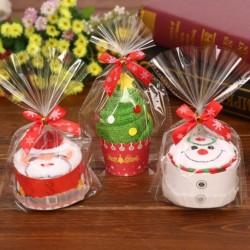 1db kreatív karácsonyi törölköző dekoráció Mikulás hóember fa torta modell ajándék