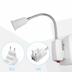1x E27 20CM hajlékony lámpa izzó tartó fehér, rugalmas átalakító be / ki kapcsoló adapter aljzat