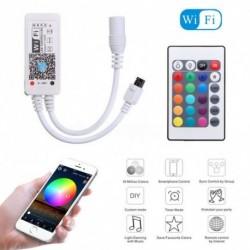 1x Mini Wifi RGB LED vezérlő 5050 3528 LED csík fényhez 24 kulcsos IR távvezérlővel