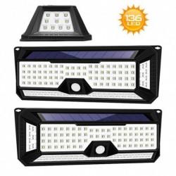 1x 136 LED 4 oldalas napelemes PIR mozgásérzékelő fali fény 3 üzemmód kültéri kerti lámpa